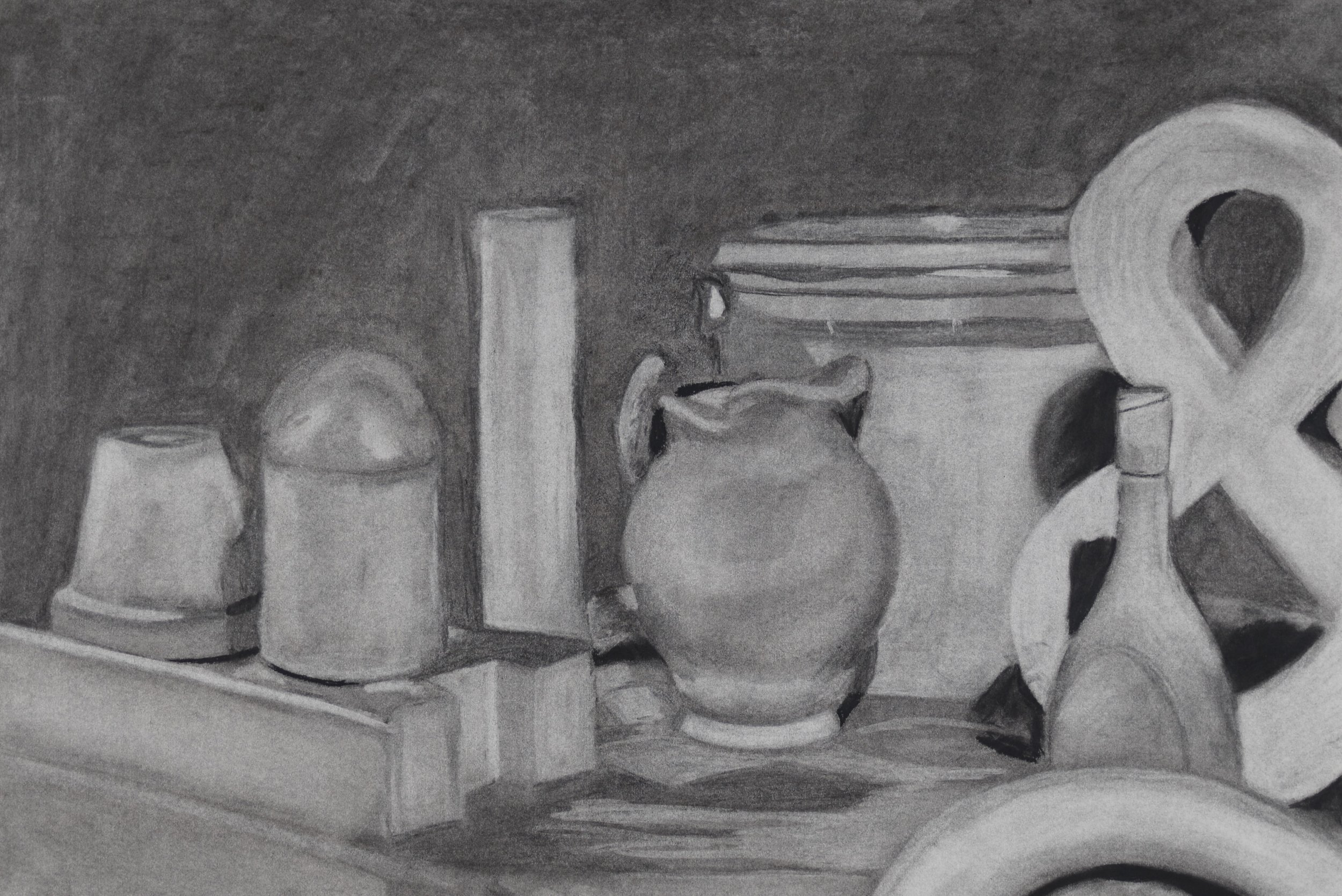 """H.O.  White Study   Assignment , charcoal, 18 x 24"""", from Intro to Drawing Fundamentals, summer 2017"""