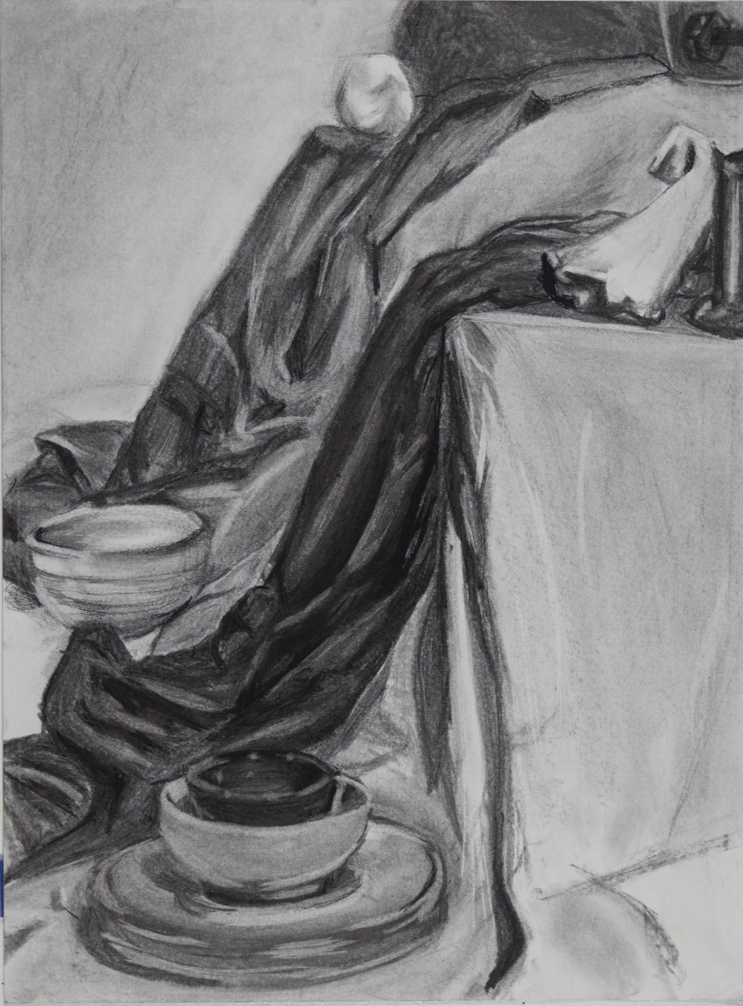 """A. S.,  Local Value Assignment , charcoal, 18 x 24"""", from Intro to Drawing Fundamentals, summer 2017"""