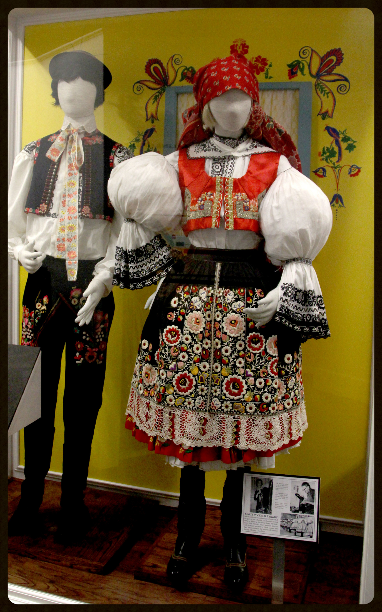 Beautiful Czech Kroj or costumes are often adorned with glass beading, silver and gold thread, elaborate embroidery or fabric dyed with indigo in a hand-stamped wax-resist design. Each region is represented by a unique kroj design.