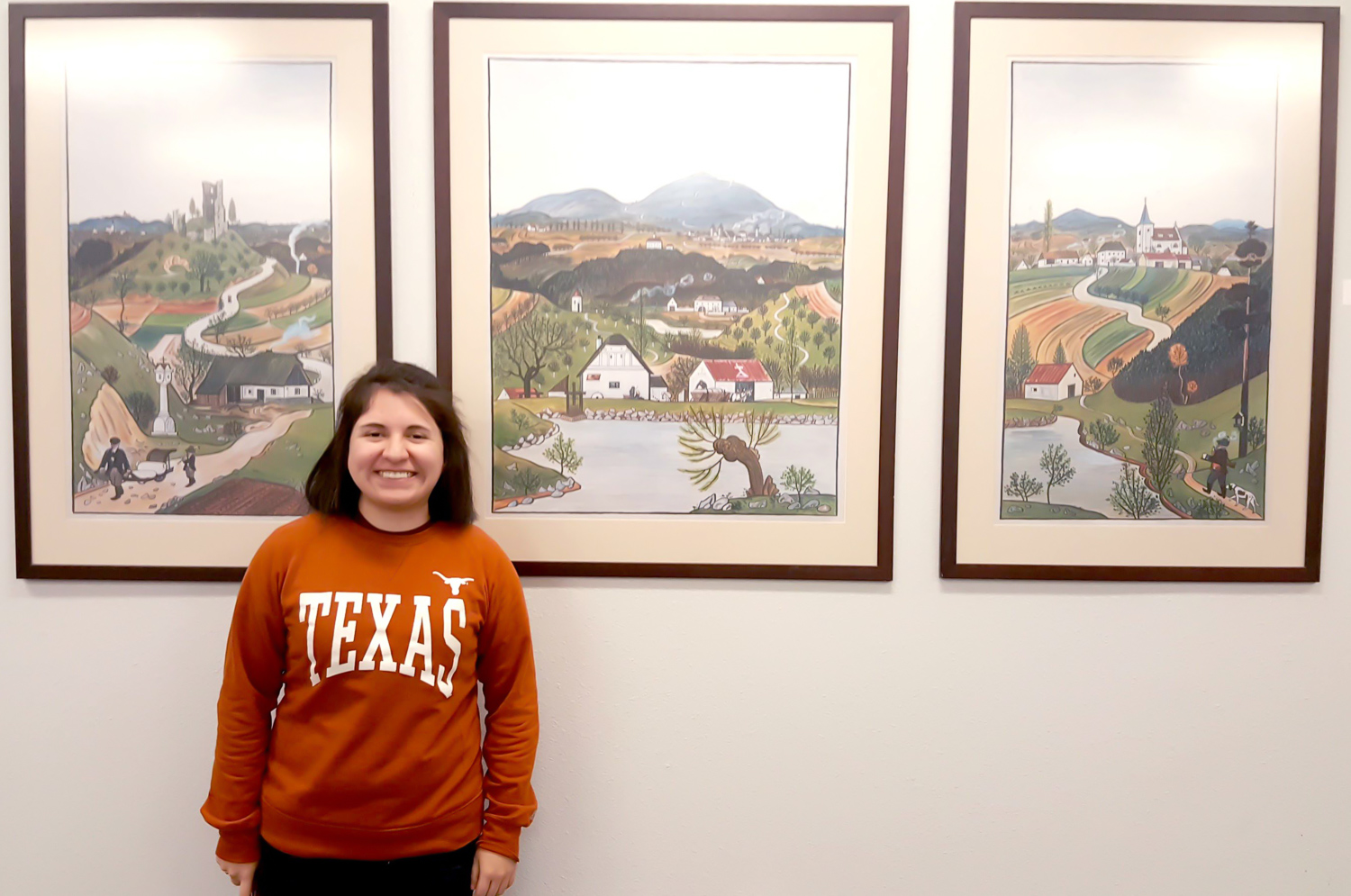 Celeste Banda stopped in to see the Josef A. Lada exhibit and catch up with staff.