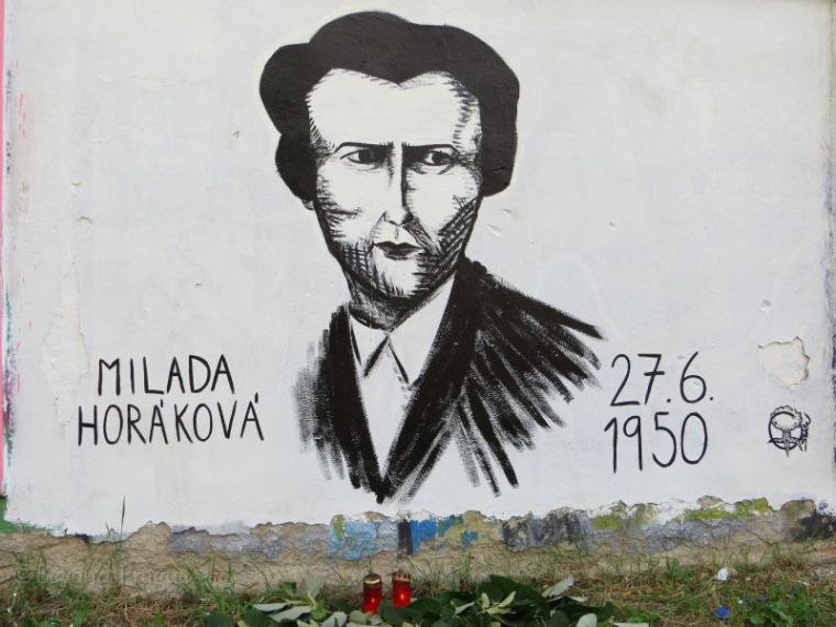 Graffiti on wall in Brno, Moravia, Czech Republic, marking the 65th anniversary of the execution of Milada Horakova.