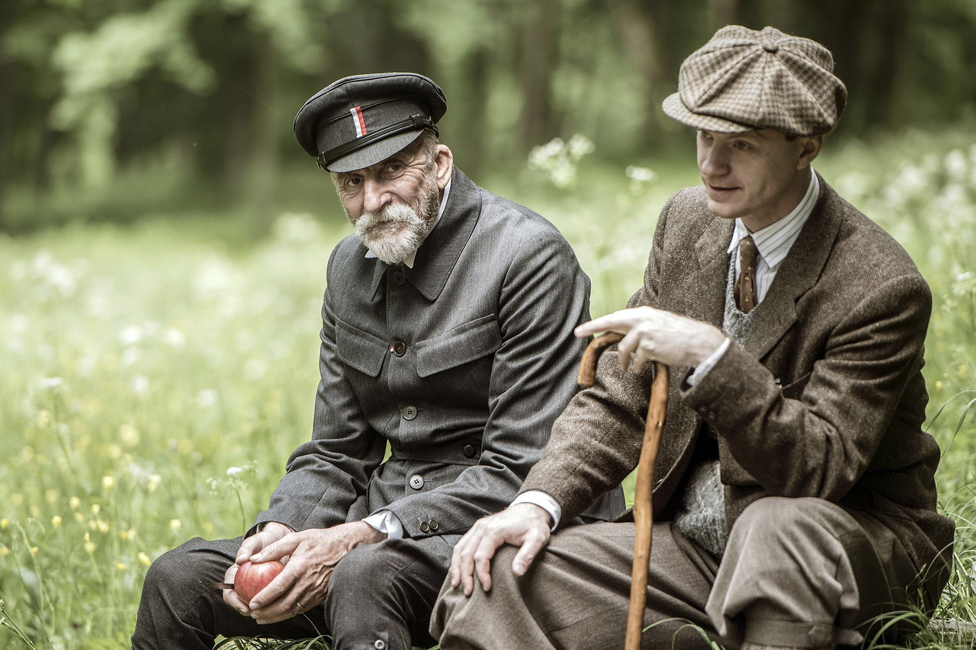 Martine Huba plays Tomas Masaryk and Jan Bucaramanga plays Karel Capek in the 2018 film Talks with TGM.