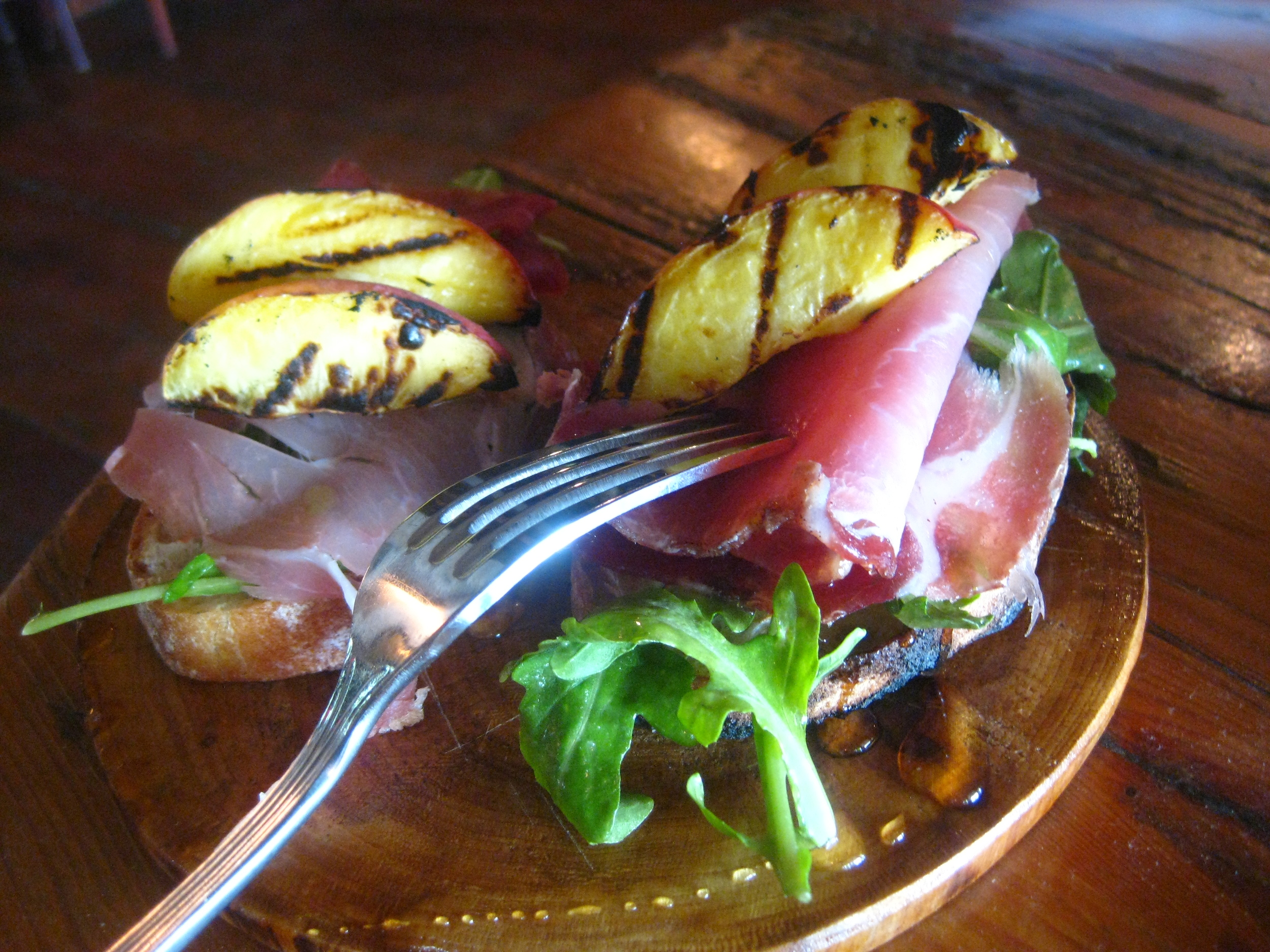 Prociutto Crostini, Grilled Peaches
