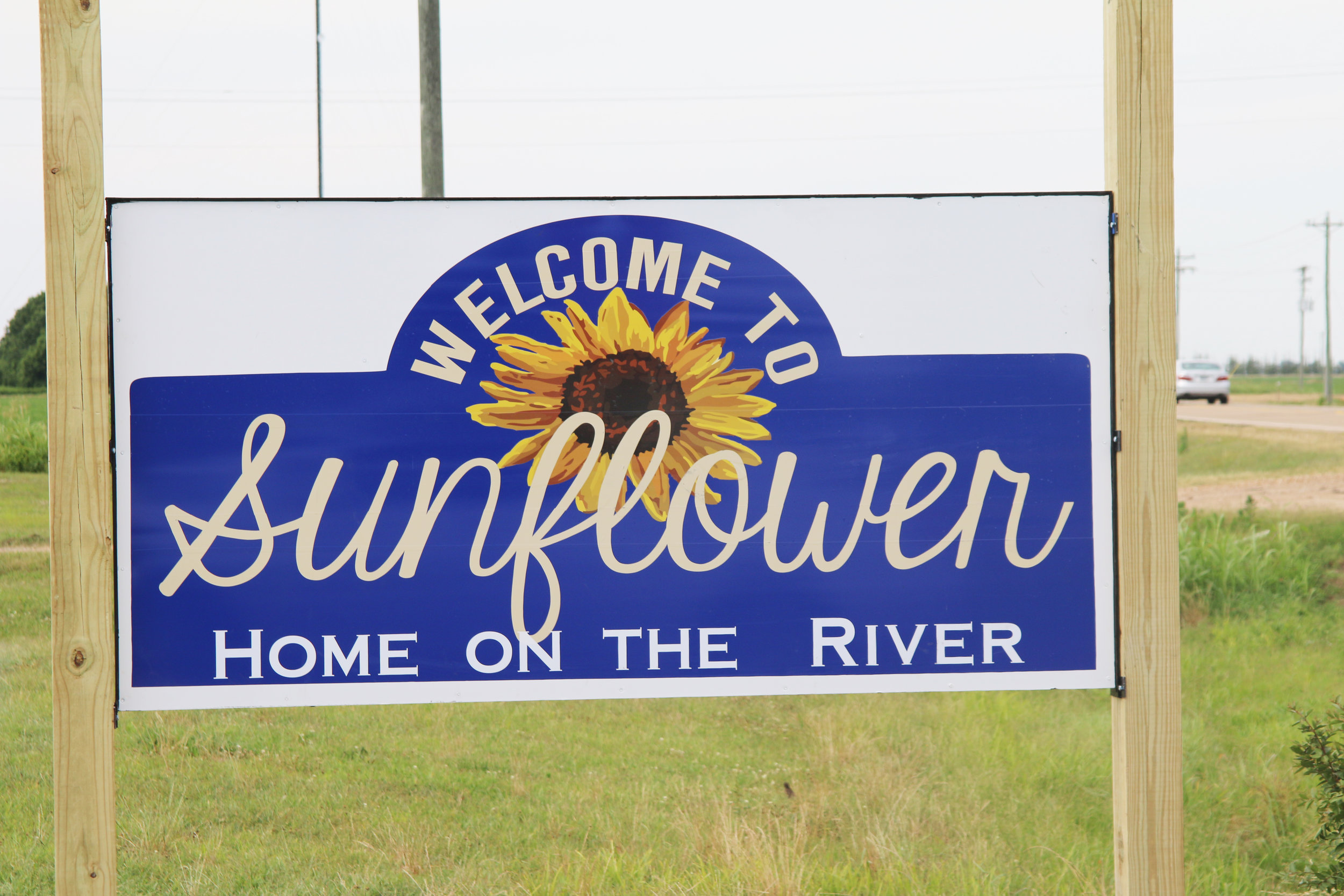 The new sign on the highway past Sunflower.
