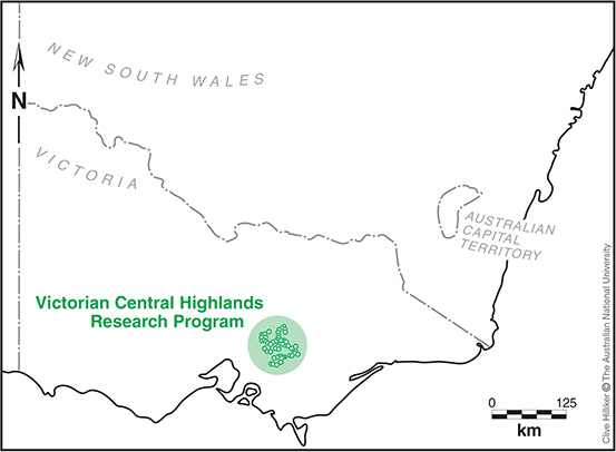 The locations of the 175 long term monitoring plots in Victoria's Central Highlands