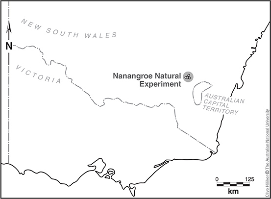 The study is located north-east of Gundagai and includes Nanangroe, Cotway, Bungongo and East Bungongo State Forests, as well as surrounding grazing land.