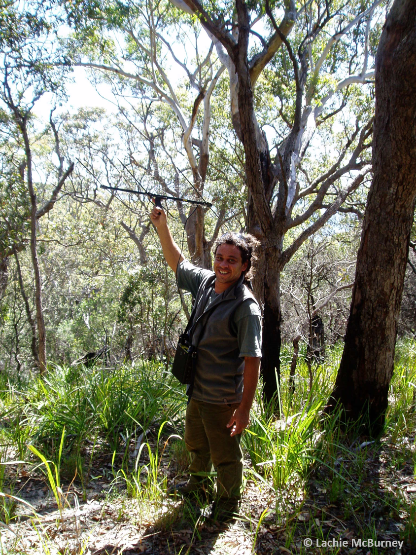 Damian Michael tracking pythons at Booderee National Park.