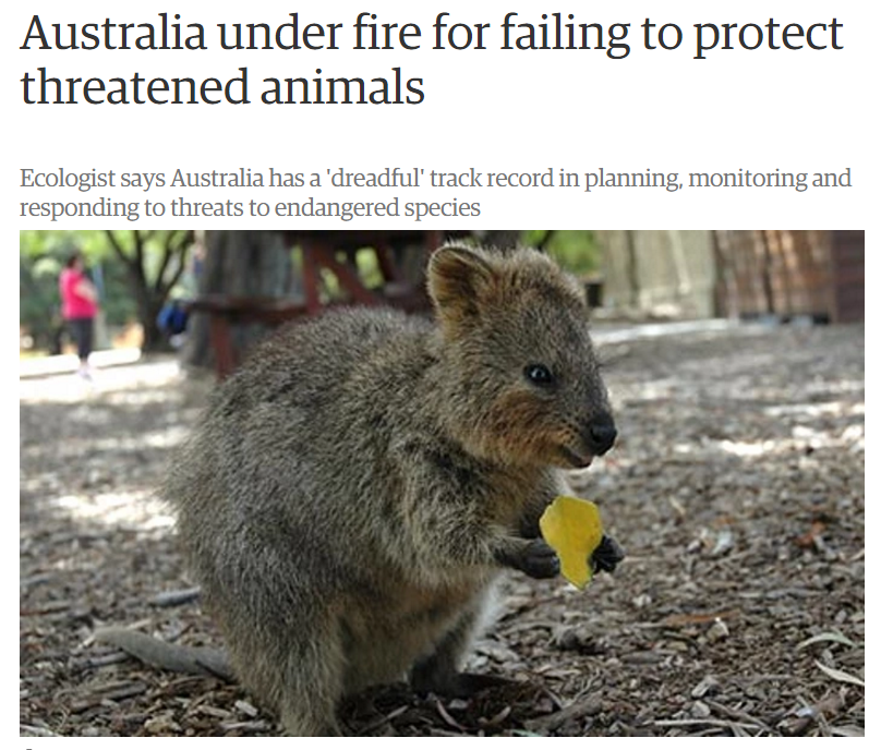 'Australia under fire for failing to protect threatened animals' by Oliver Milman, The Guardian, 26 November 2013