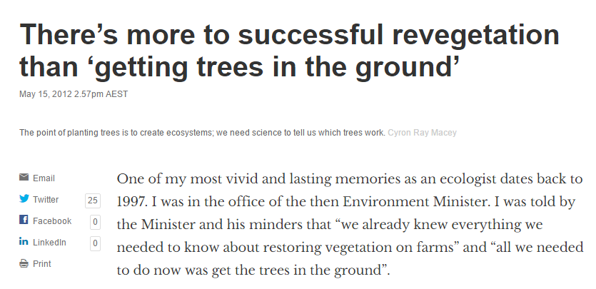 'There's more to successful revegetation than getting trees in the ground' by David Lindenmayer, The Conservation, 15 May 2012