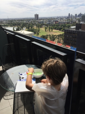 Jack started painting the view from our balcony as soon as we walked into our room.