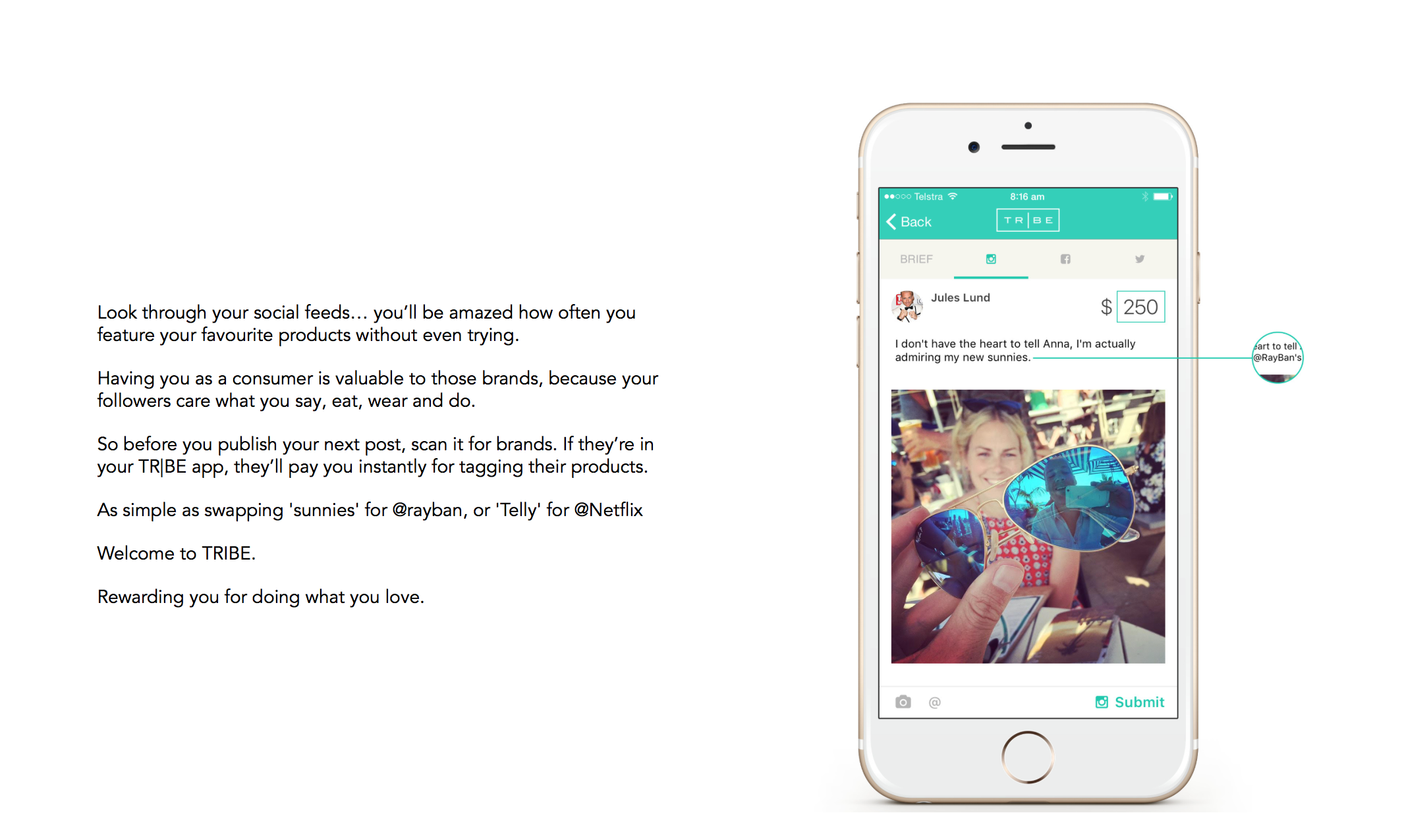 An example of what a sponsored post can look like as you submit your idea to the brand via the Tribe app.