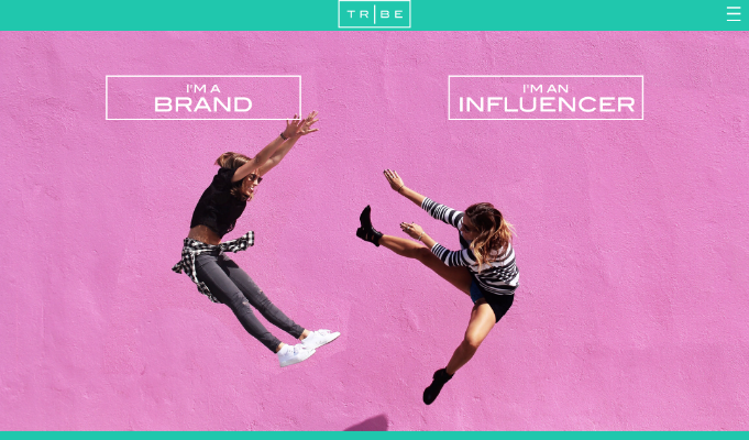 The website is simple to navigate through, first by clicking if you are a brand, or an influencer!