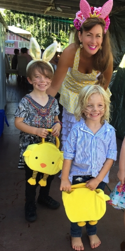 Cynthia and the boys at one of her beautiful Easter get-togethers.
