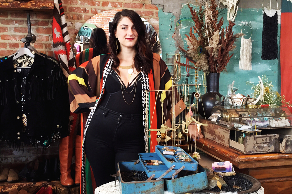 Kristina Marino looking bossy as hell in her vintage kimono and KRIMARINO jewels at her popup in Detroit.