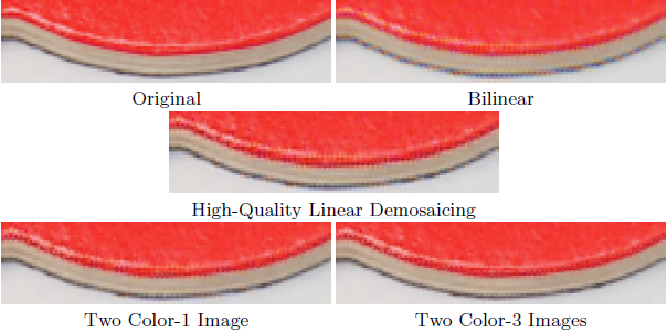 Video and image Bayesian demosaicing with a two color image prior