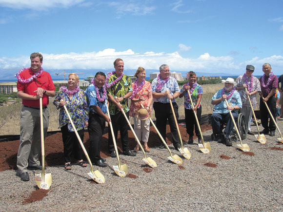 Elected officials and key project personnel break ground for the West Maui Hospital and Medical Center. Pictured, from left, are: State Rep. Angus McKelvey; County Councilmember Gladys Baisa; Mayor Alan Arakawa; Newport Hospital Corporation President Brian Hoyle; State Sen. Roz Baker; Councilmembers Don Couch, Elle Cochran and Bob Carroll; and West Maui Hospital Foundation Board Members Dr. Alfred Arensdorf and Howard Hanzawa.