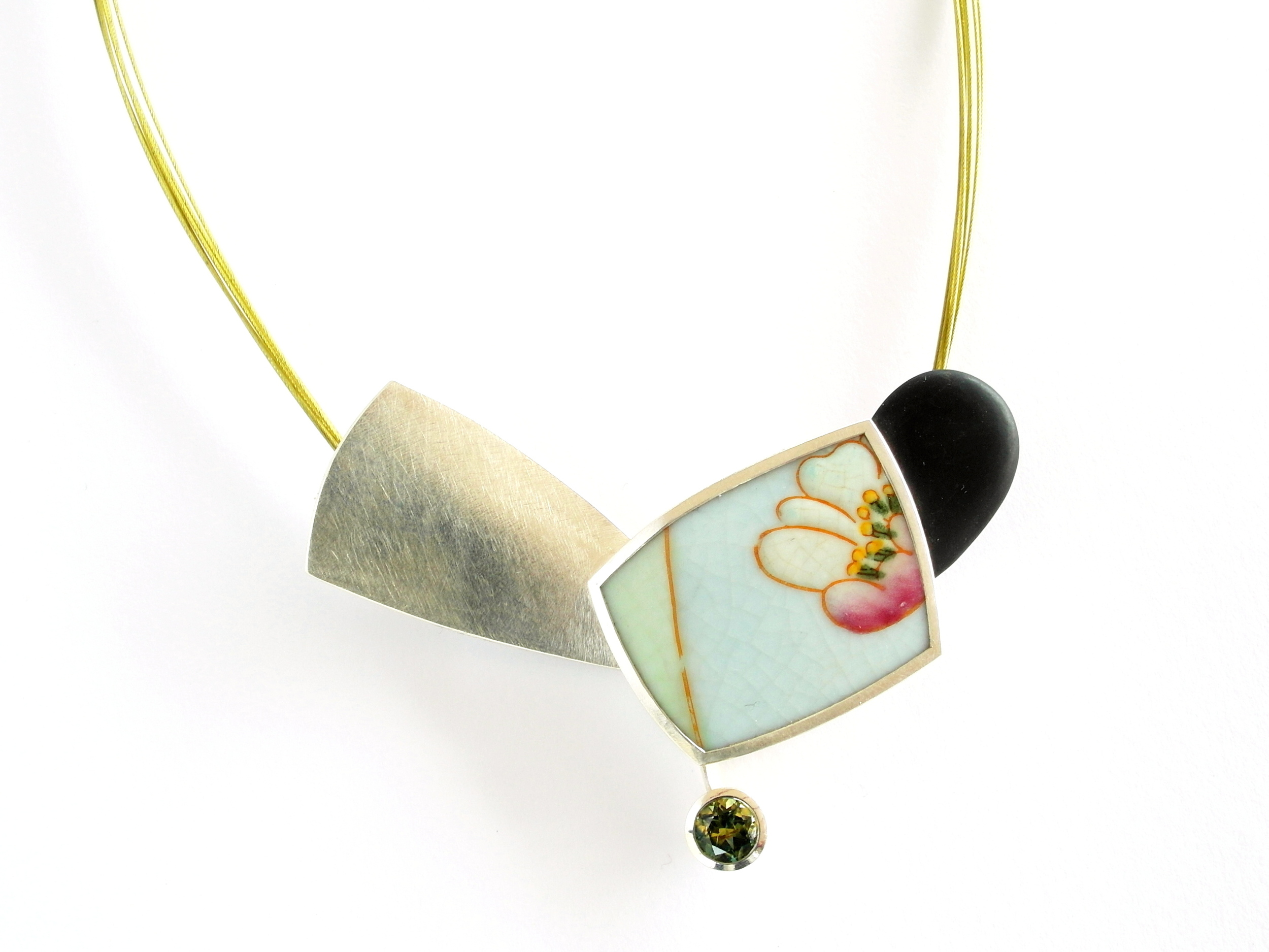 M745 Pendant by Marcus Foley 2015 - 925 silver, 1.56ct Australian sapphire, reclaimed ceramic, beach pebble (Private collection)