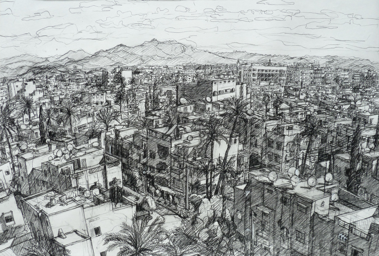 Lazauskas View from the Ramparts North - charcoal on paper.jpeg