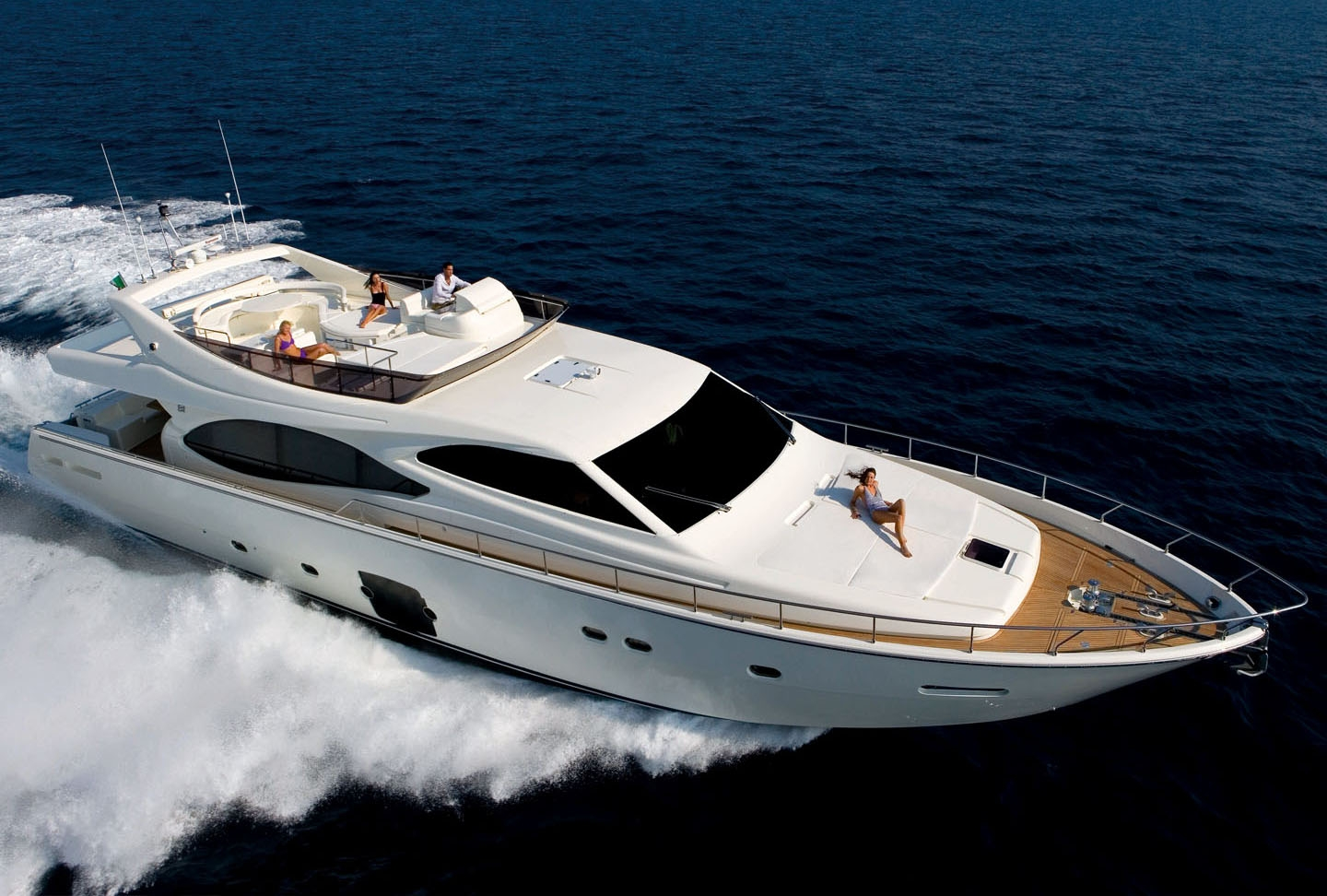 Rent a Ferrretti yacht for maximum space and comfort