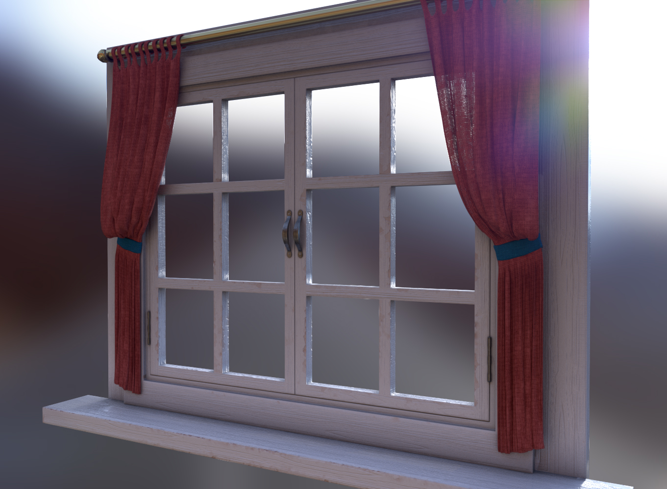 This is a window I created for an upcoming real time PBR Scene, which I will create a more meaningful breakdown of in a future post. Here we can see a nice opacity map at work on the fabric, giving it some translucency. Rendered in SD6 IRay.