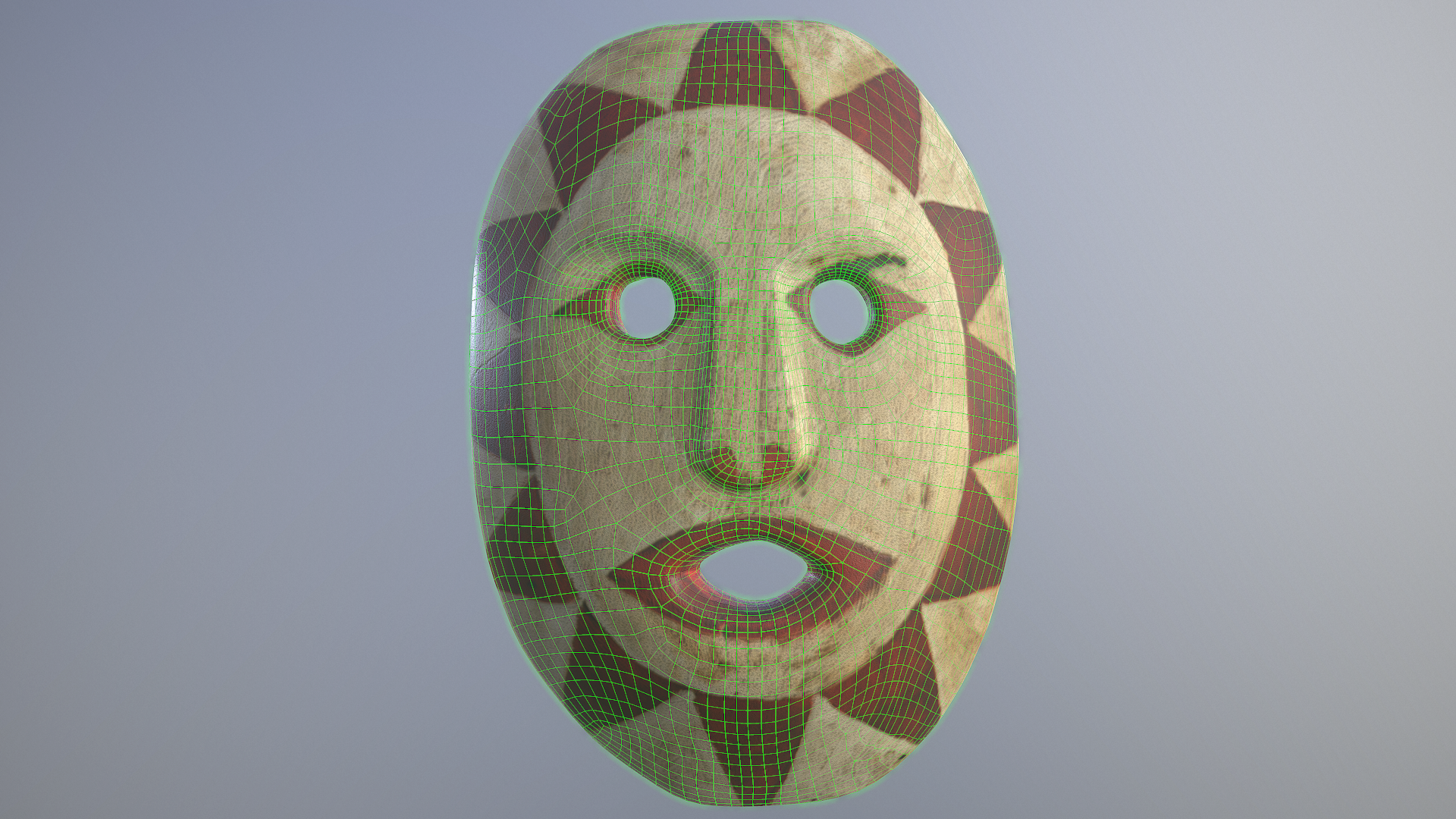 Mask by August Jack Khahtsahlano - Results After Baking, Wireframe + Textures.