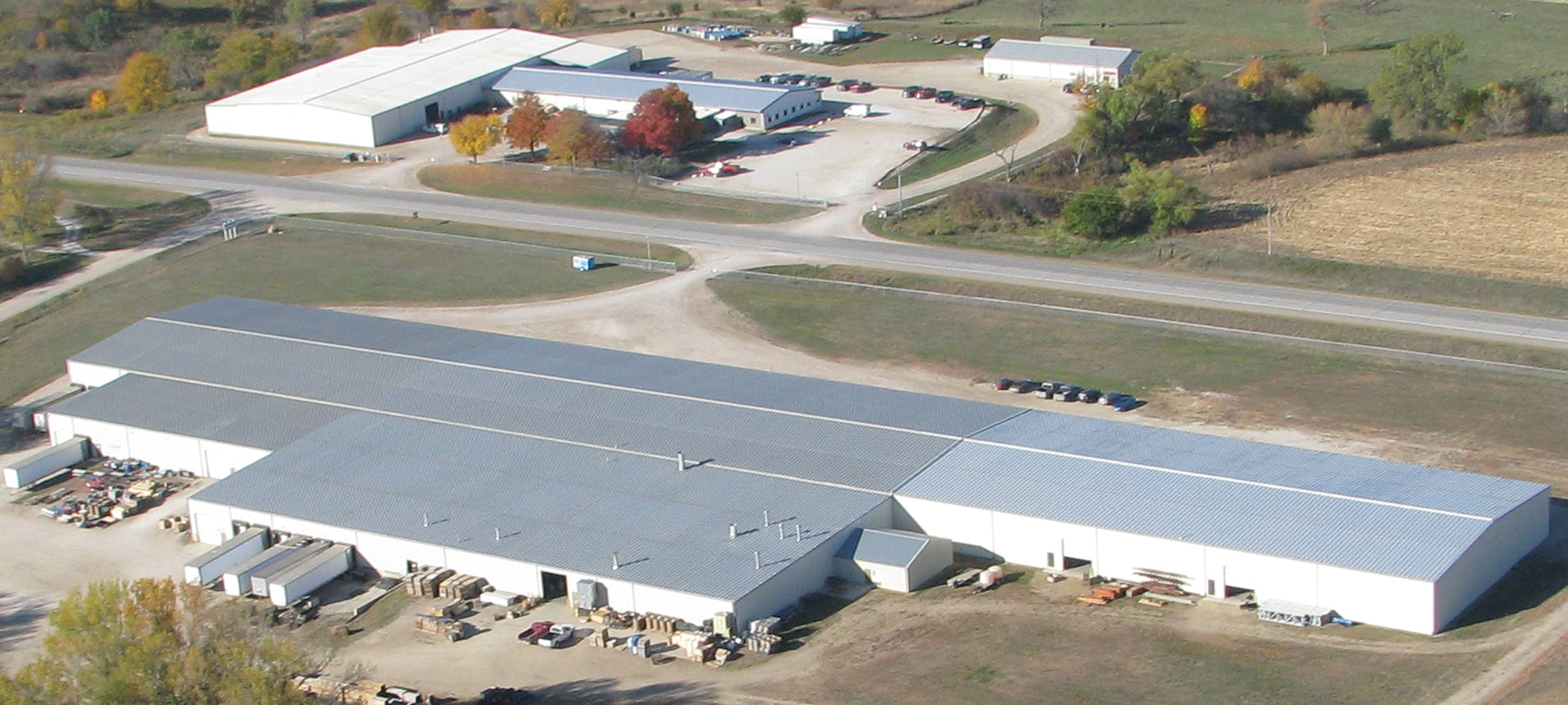An aerial view of R.J. Thomas Mfg. buildings in 2013.