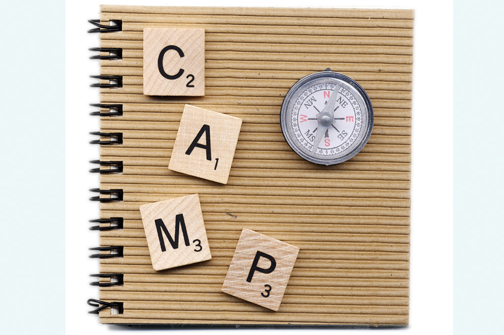 Old game pieces from a Scrabble set were used to spell out C A M P, then a compass was glued to the journal front.