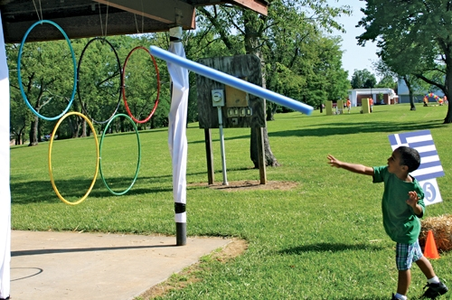 The javelin flies through the Olympic ring. Photo courtesy of Winchester Parks and Recreation