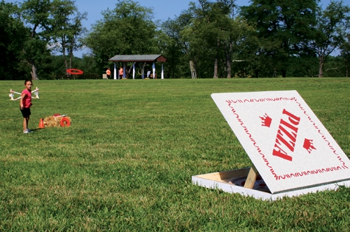 Aiming for the pizza box. Photo courtesy of Winchester Parks and Recreation