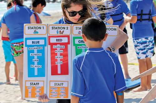 A camper checks out the board for the day's activities. Photo Courtesy of Jannet Harriss, City of Miami Beach Staff