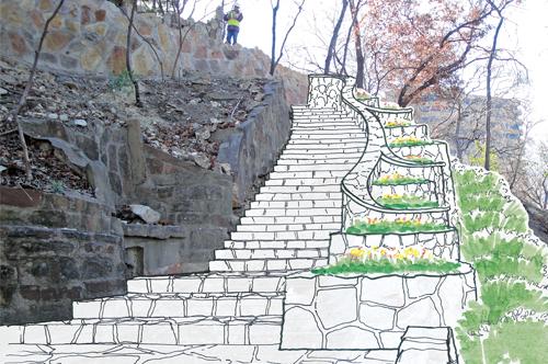 Plans for the restoration of Reverchon Park in Dallas. Photo Courtesy of MESA