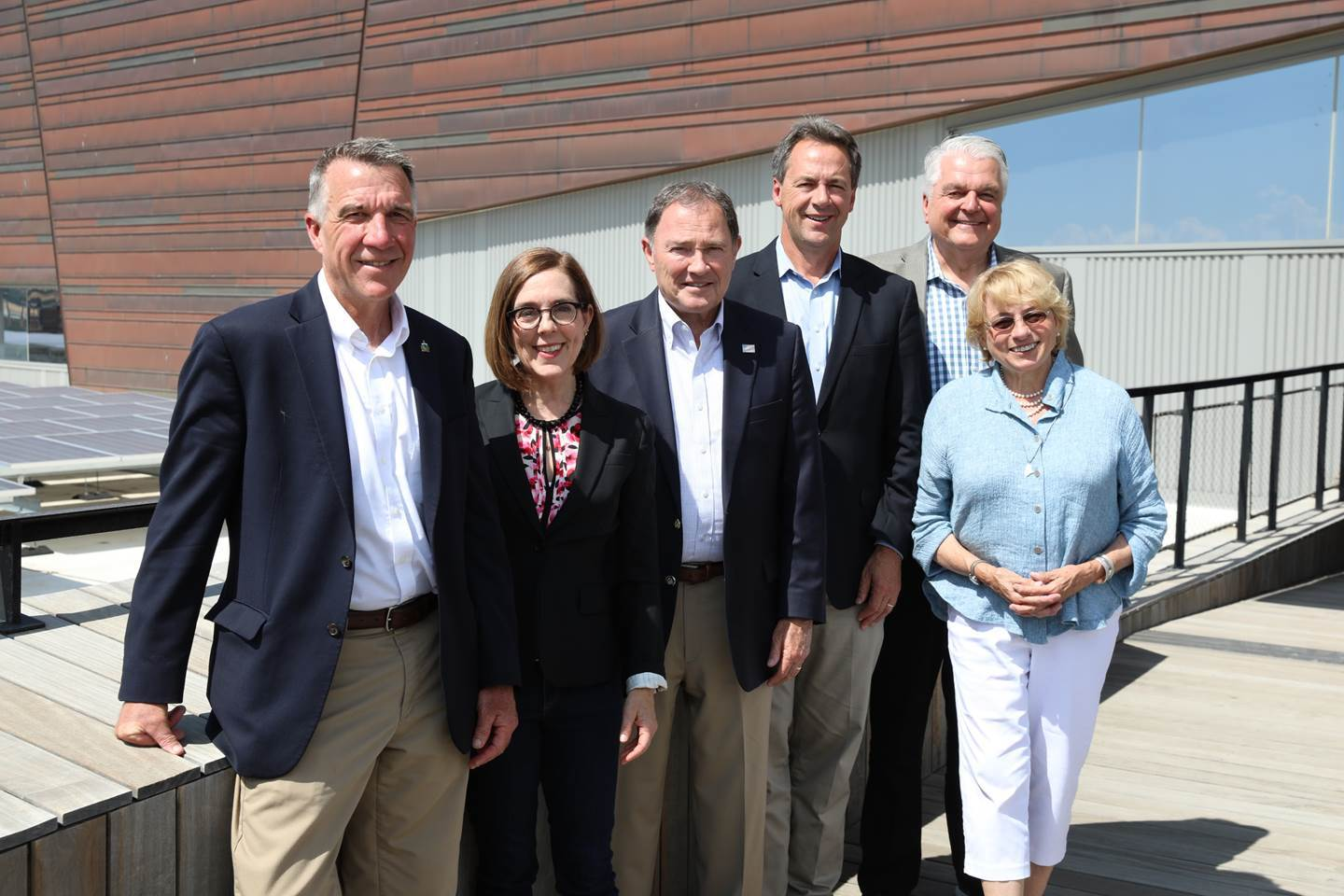 Governors (from left): Phil Scott of Vermont, Kate Brown of Oregon, Gary Herbert of Utah, Steve Sisolak of Nevada and Janet Mills of Maine at the launch event for the National Governors Association Outdoor Recreation Learning Network in Salt Lake City.
