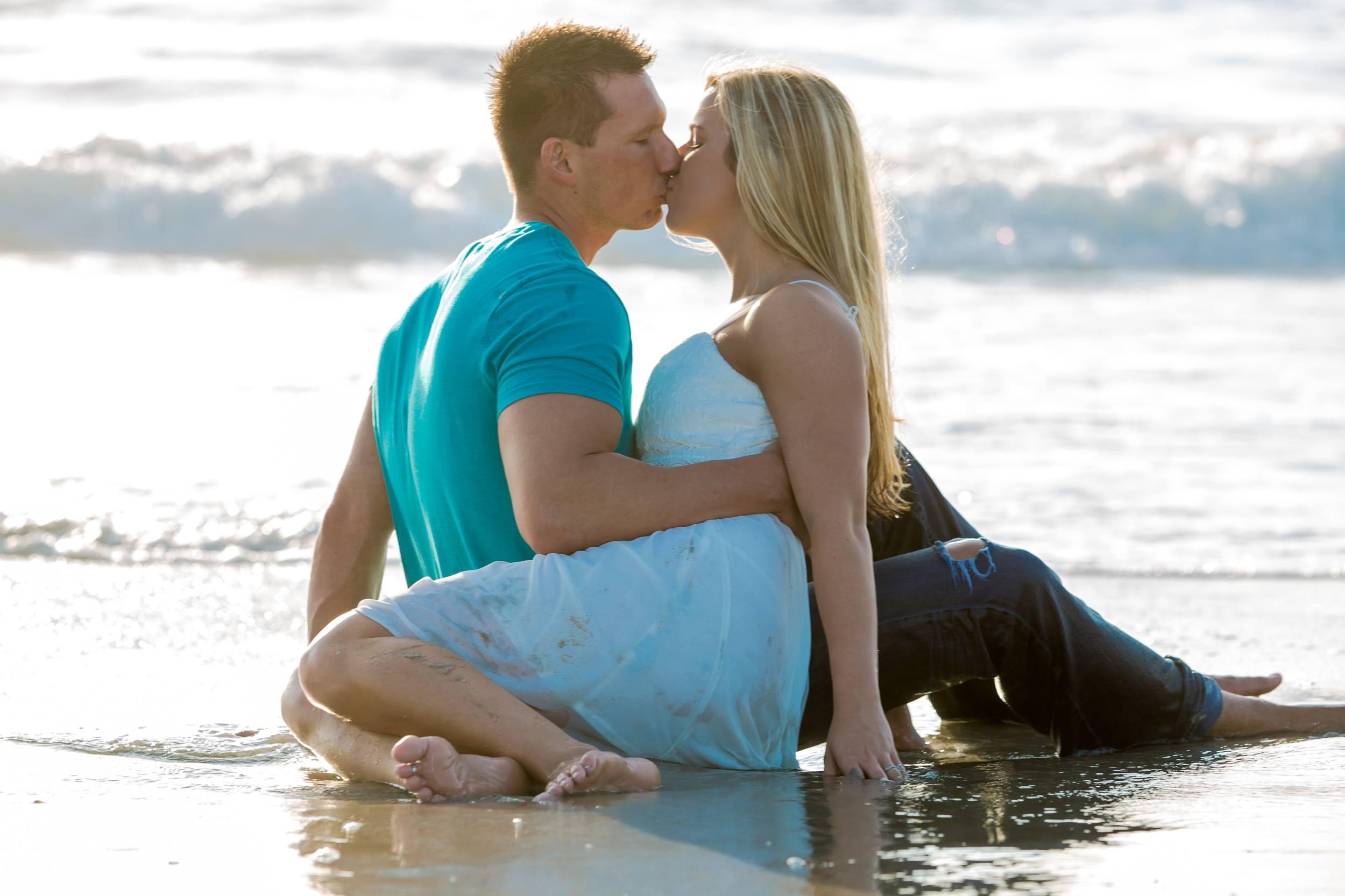 Lori Wilson Park Cocoa Beach Sunrise Engagement Session Mint Green dress- Bri 16.jpg