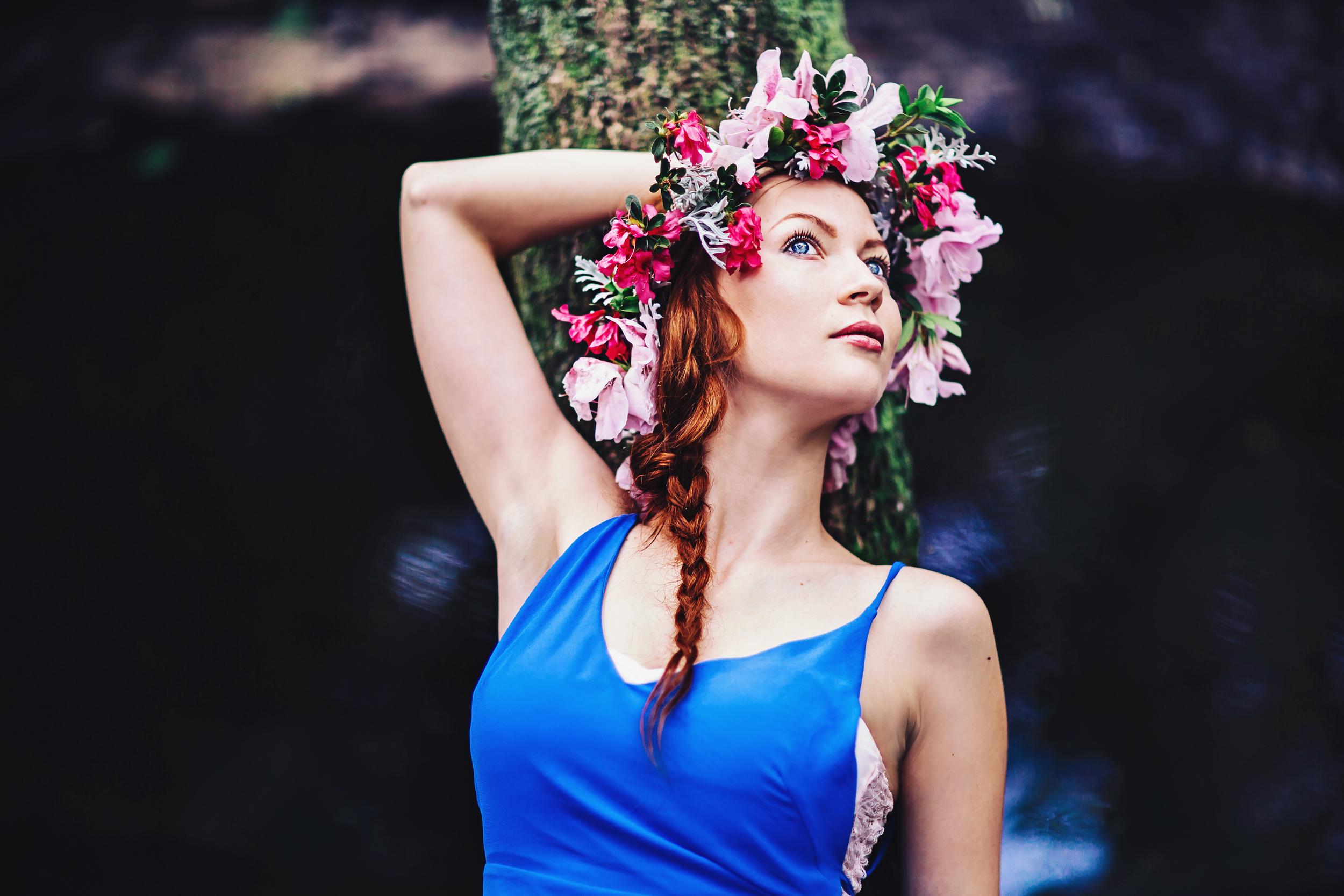 flower crown Sanford style portrait photography organic portrait nature inspired blue dress