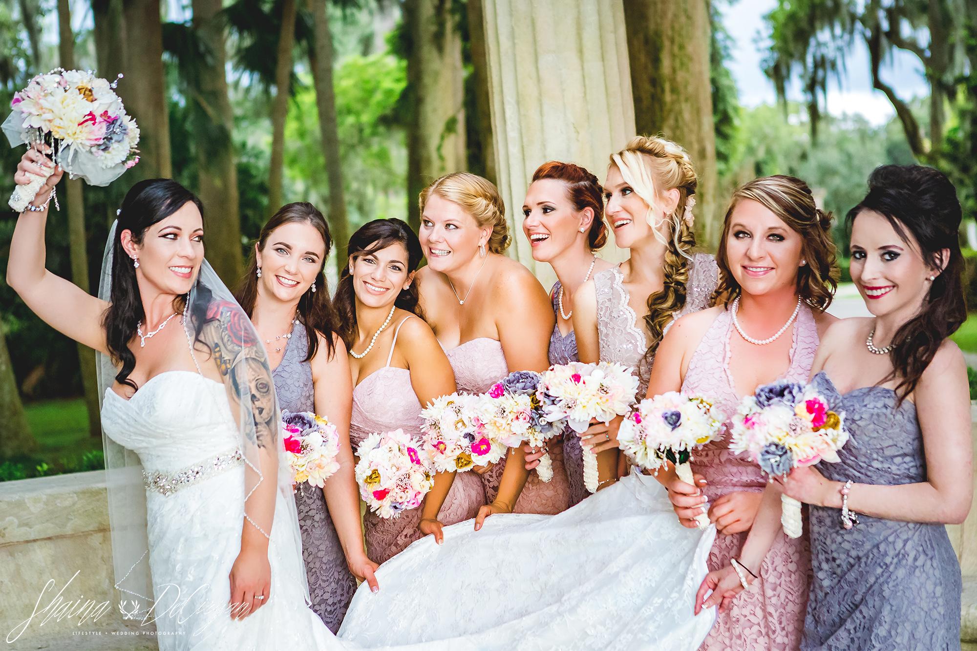 Kraft Azalea Winter Park Wedding Bridesmaids Group Photos Pink Grey Lace Gowns