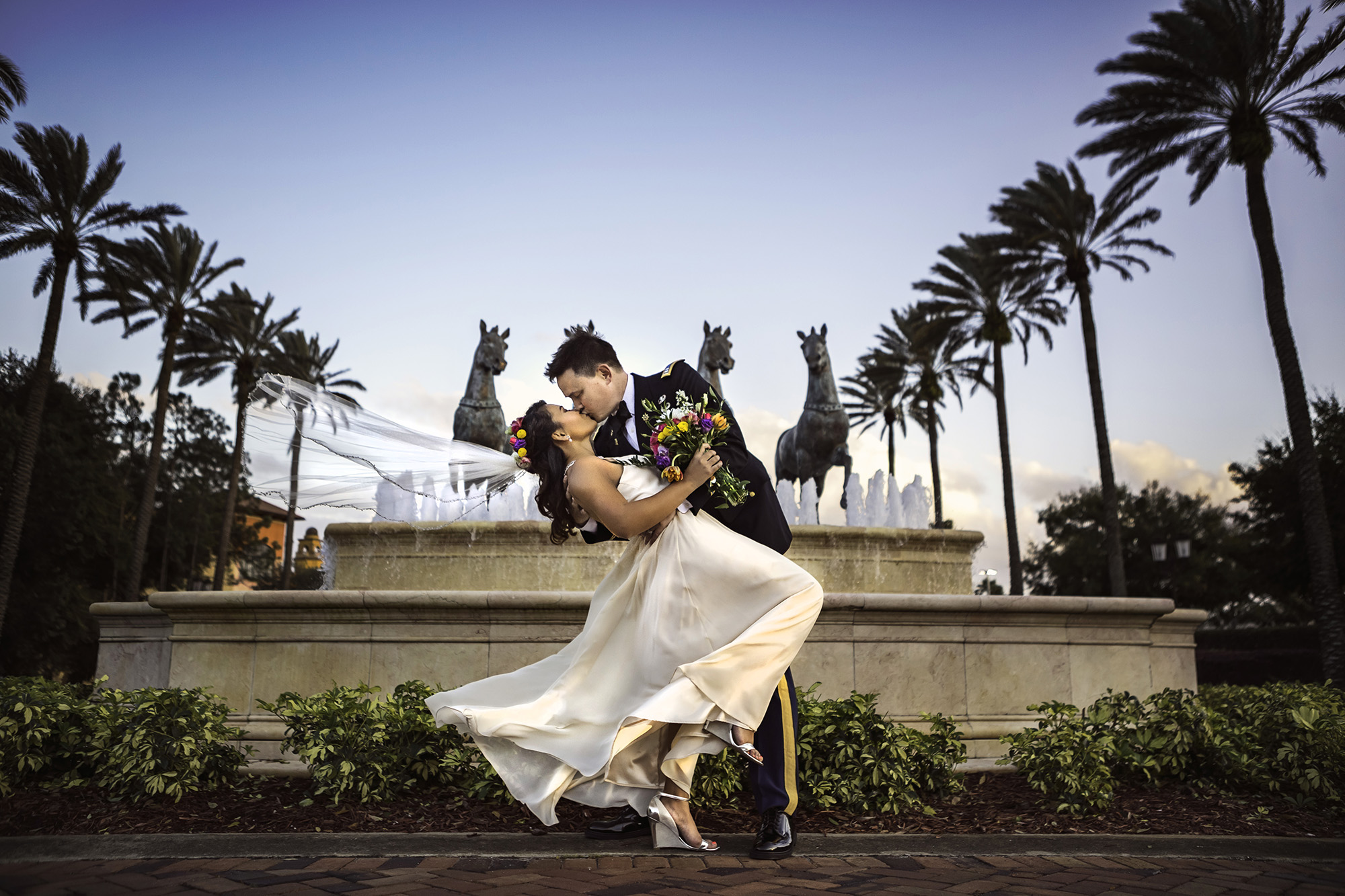 Romantic Metrowest Wedding photography Sunset Kiss Horse Fountain