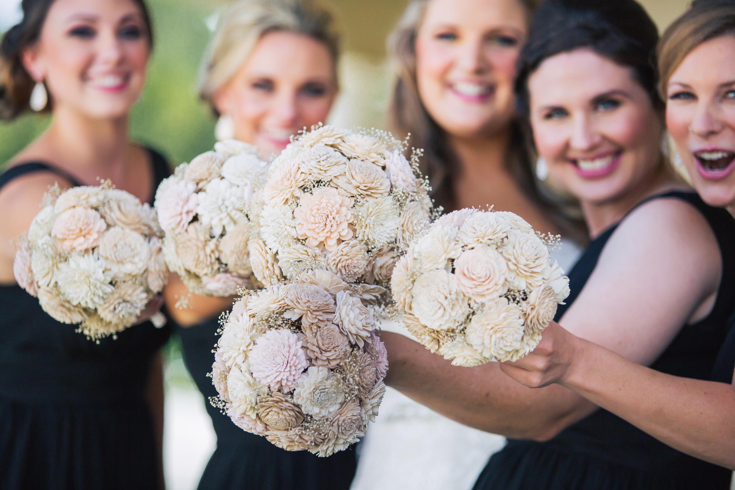 wooden flower bridal bouquet champagne pastel peach baby's breath