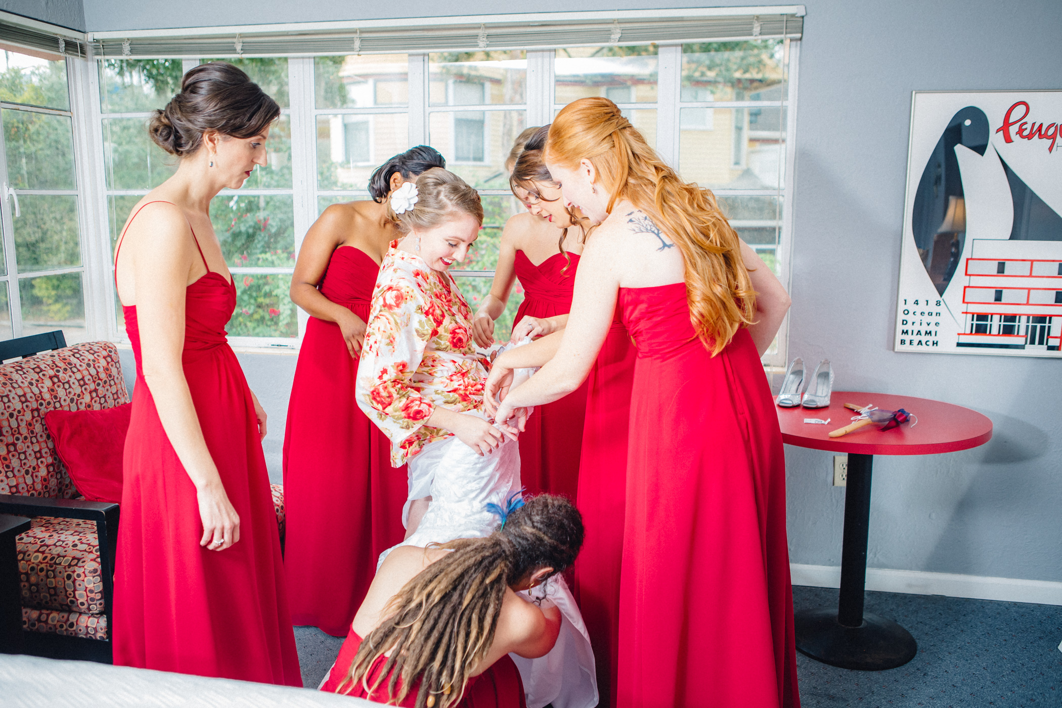 Downtown Orlando Wedding at Lake Lucerne Christmas Theme Red Dress Navy Suits 037.jpg