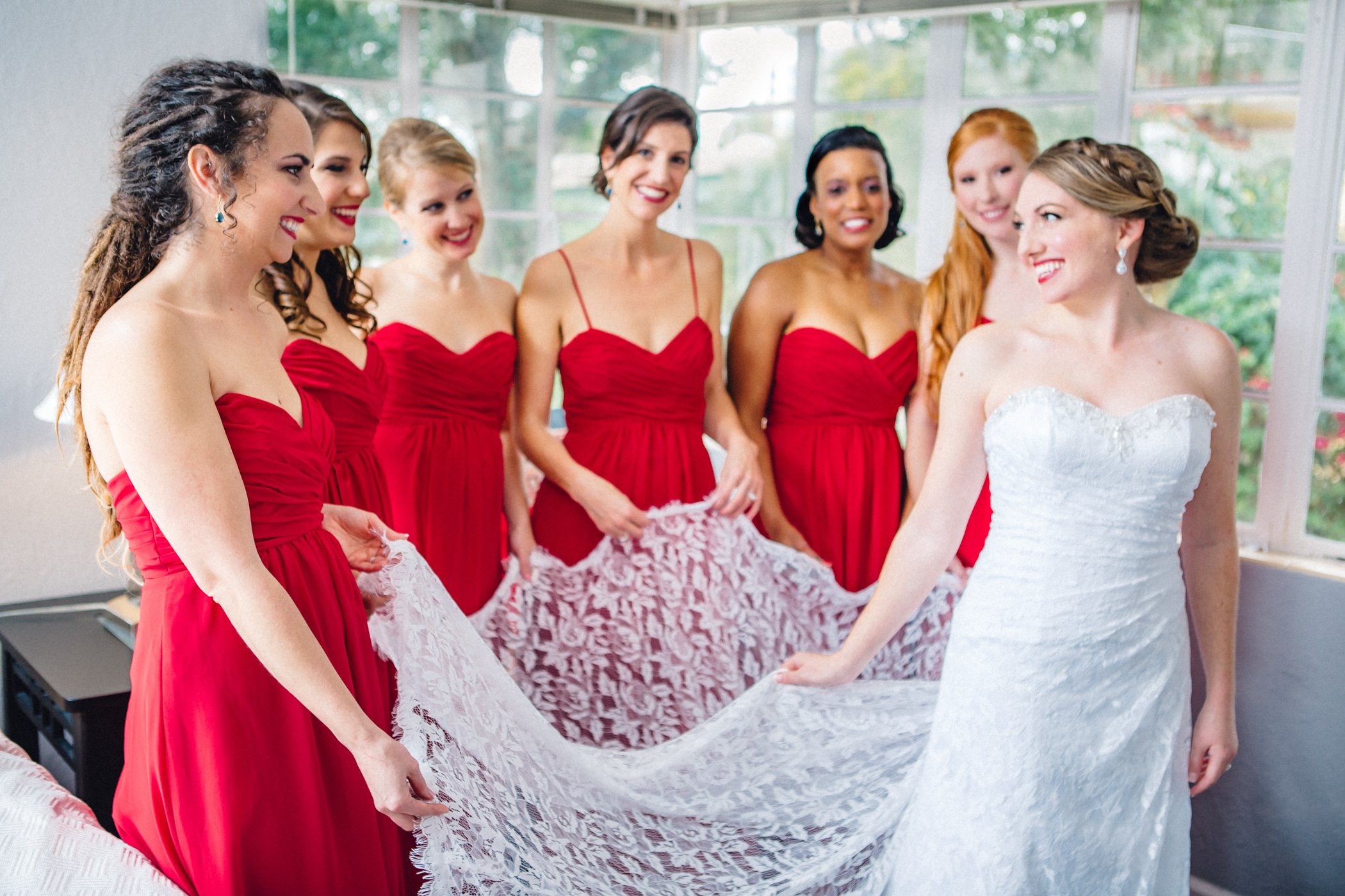 Downtown Orlando Wedding at Lake Lucerne Christmas Theme Red Dress Navy Suits 039.jpg