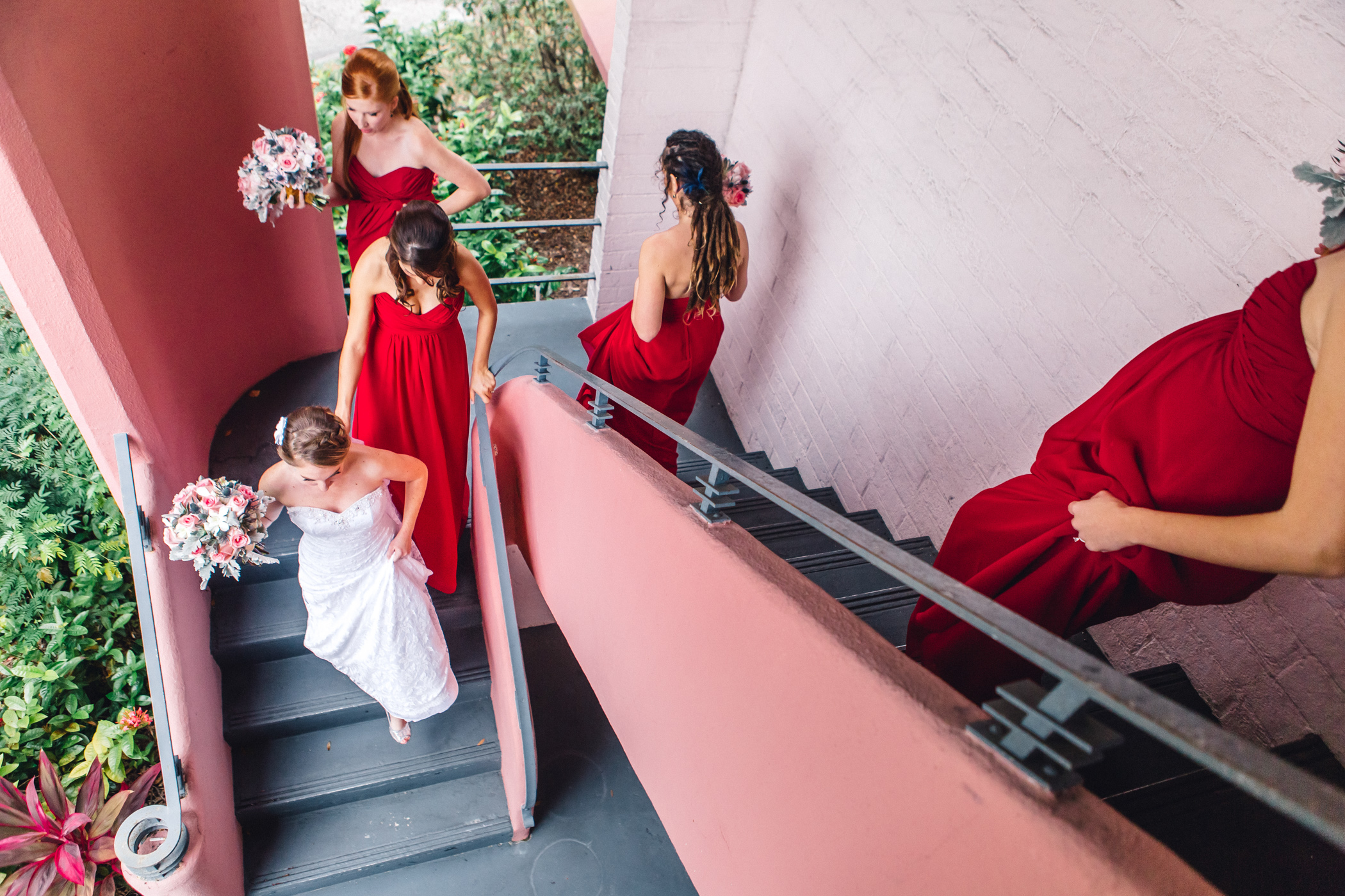 Downtown Orlando Wedding at Lake Lucerne Christmas Theme Red Dress Navy Suits 043.jpg