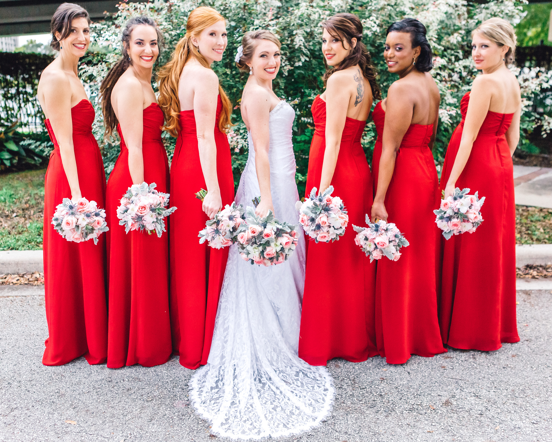 Downtown Orlando Wedding at Lake Lucerne Christmas Theme Red Dress Navy Suits 049.jpg