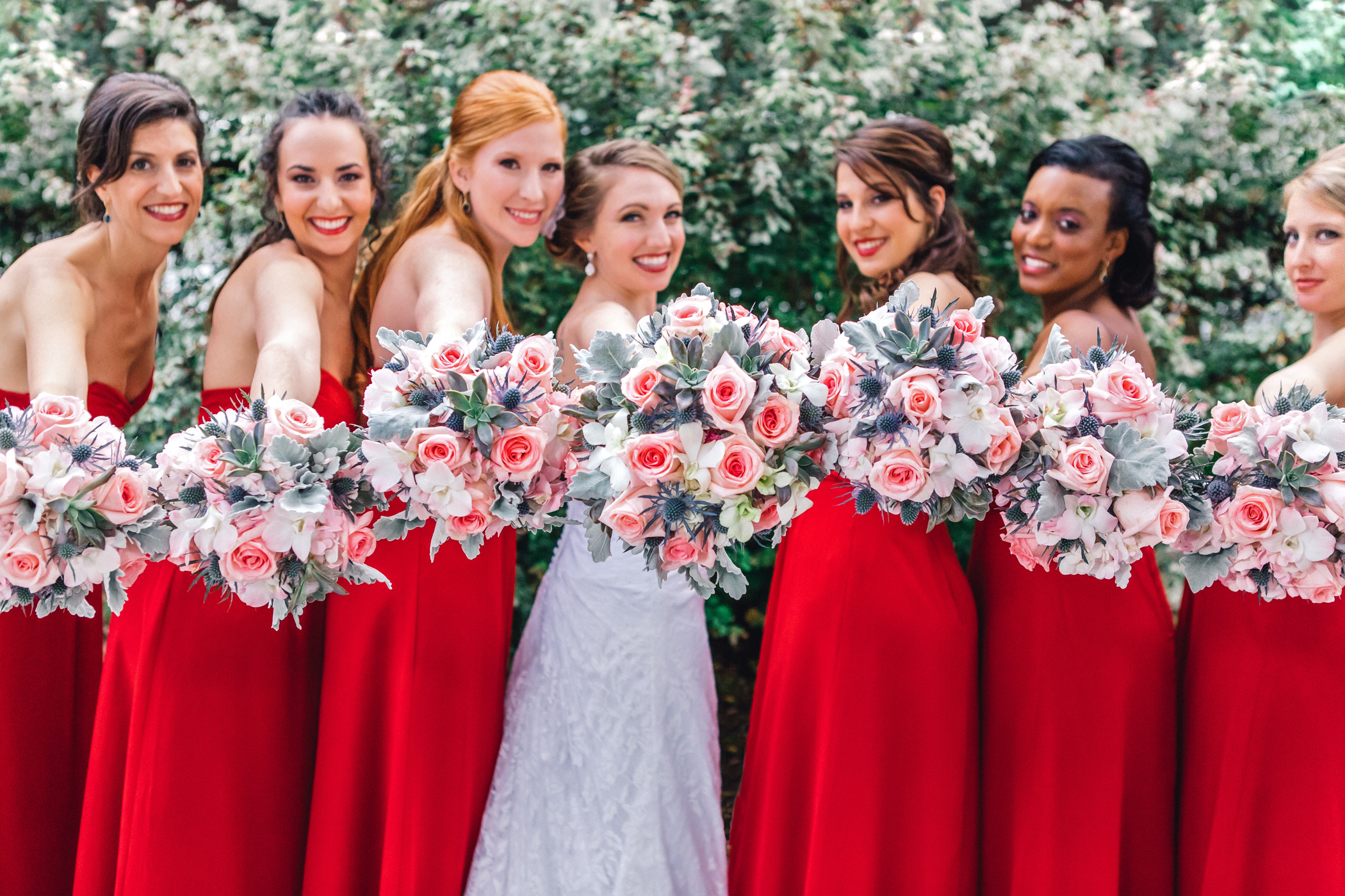 Downtown Orlando Wedding at Lake Lucerne Christmas Theme Red Dress Navy Suits 050.jpg
