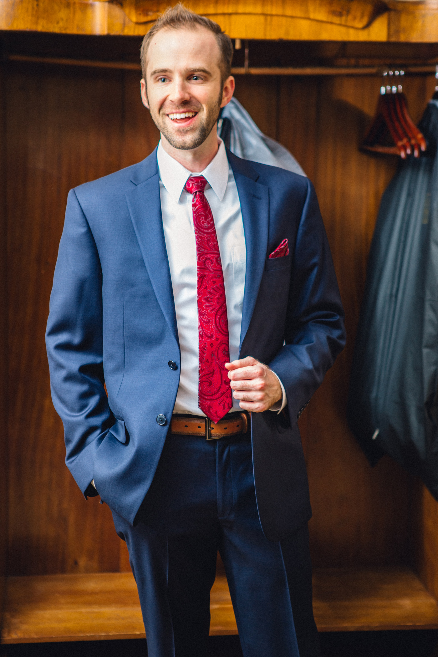 Downtown Orlando Wedding at Lake Lucerne Christmas Theme Red Dress Navy Suits 060.jpg