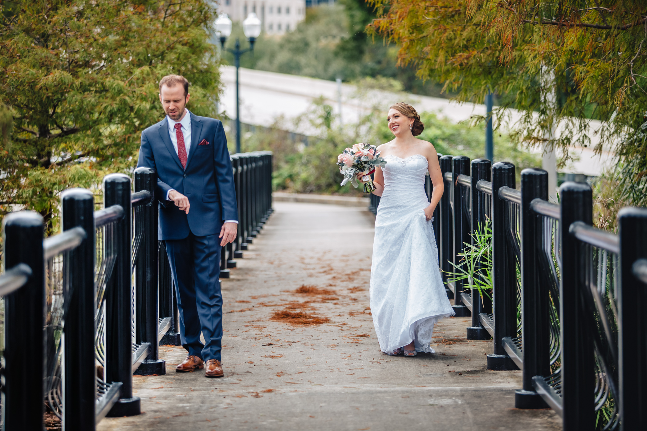 Downtown Orlando Wedding at Lake Lucerne Christmas Theme Red Dress Navy Suits 064.jpg