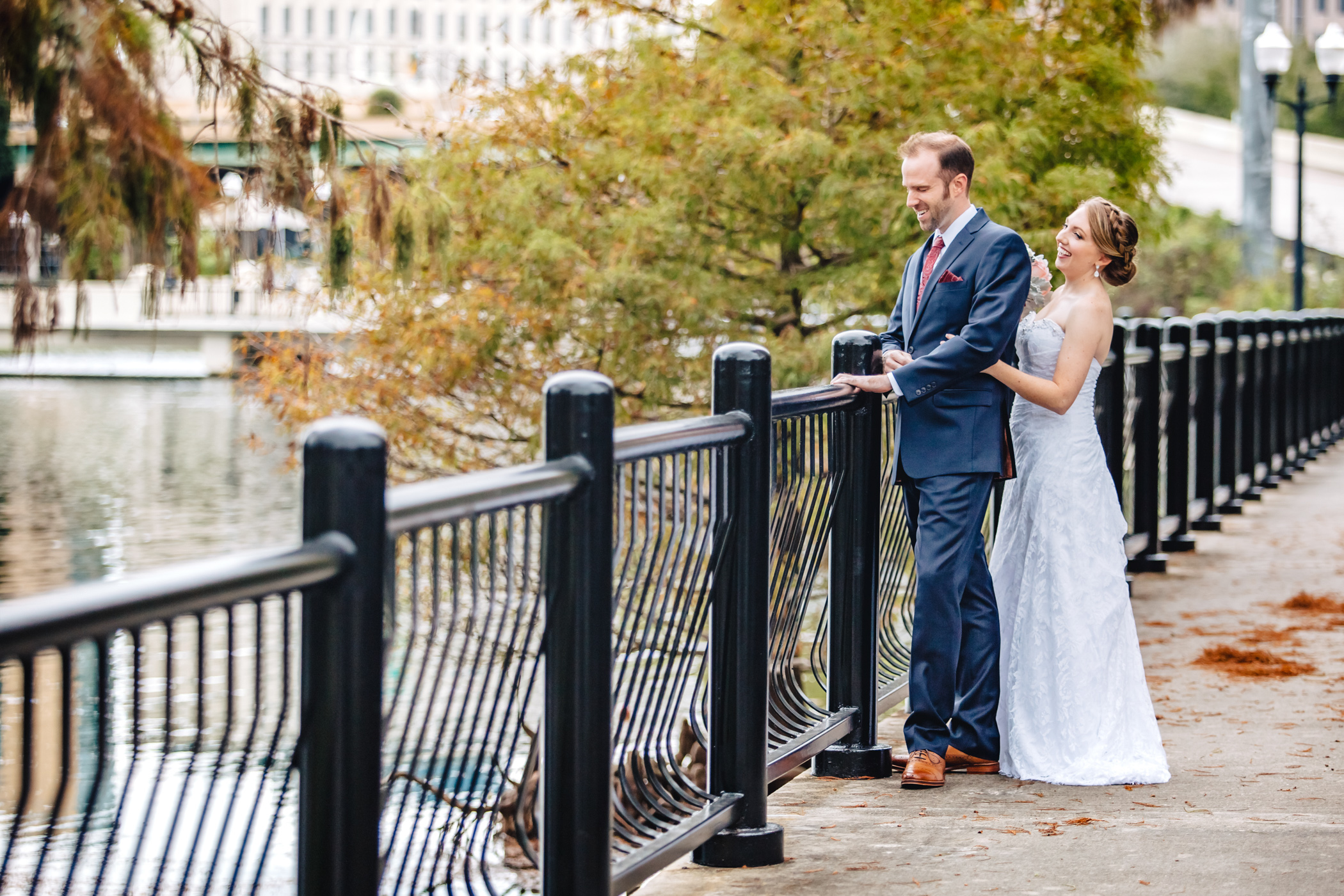 Downtown Orlando Wedding at Lake Lucerne Christmas Theme Red Dress Navy Suits 065.jpg