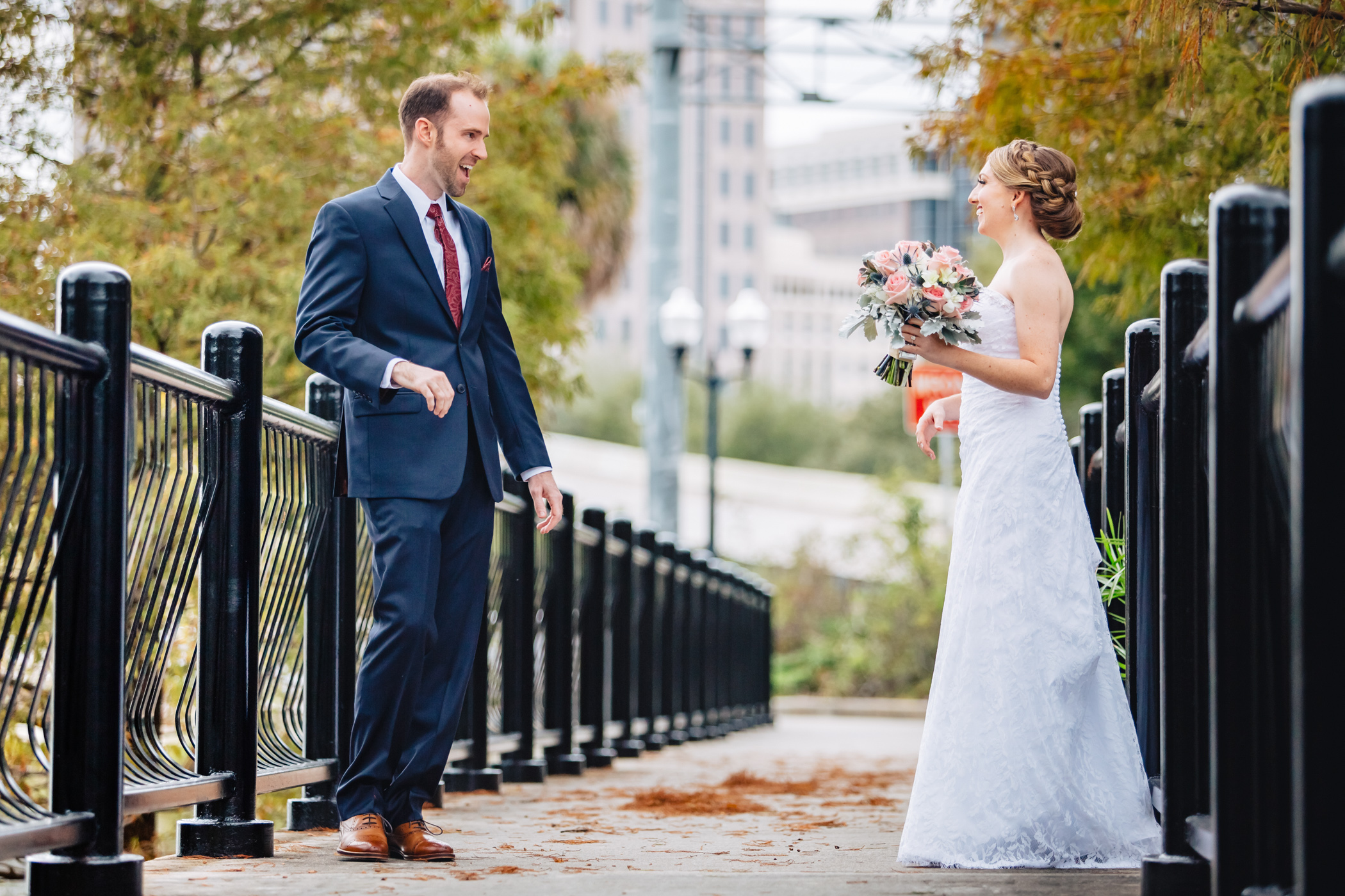 Downtown Orlando Wedding at Lake Lucerne Christmas Theme Red Dress Navy Suits 066.jpg