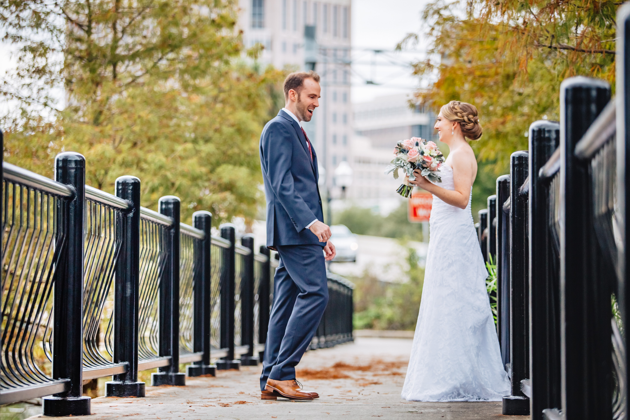 Downtown Orlando Wedding at Lake Lucerne Christmas Theme Red Dress Navy Suits 067.jpg