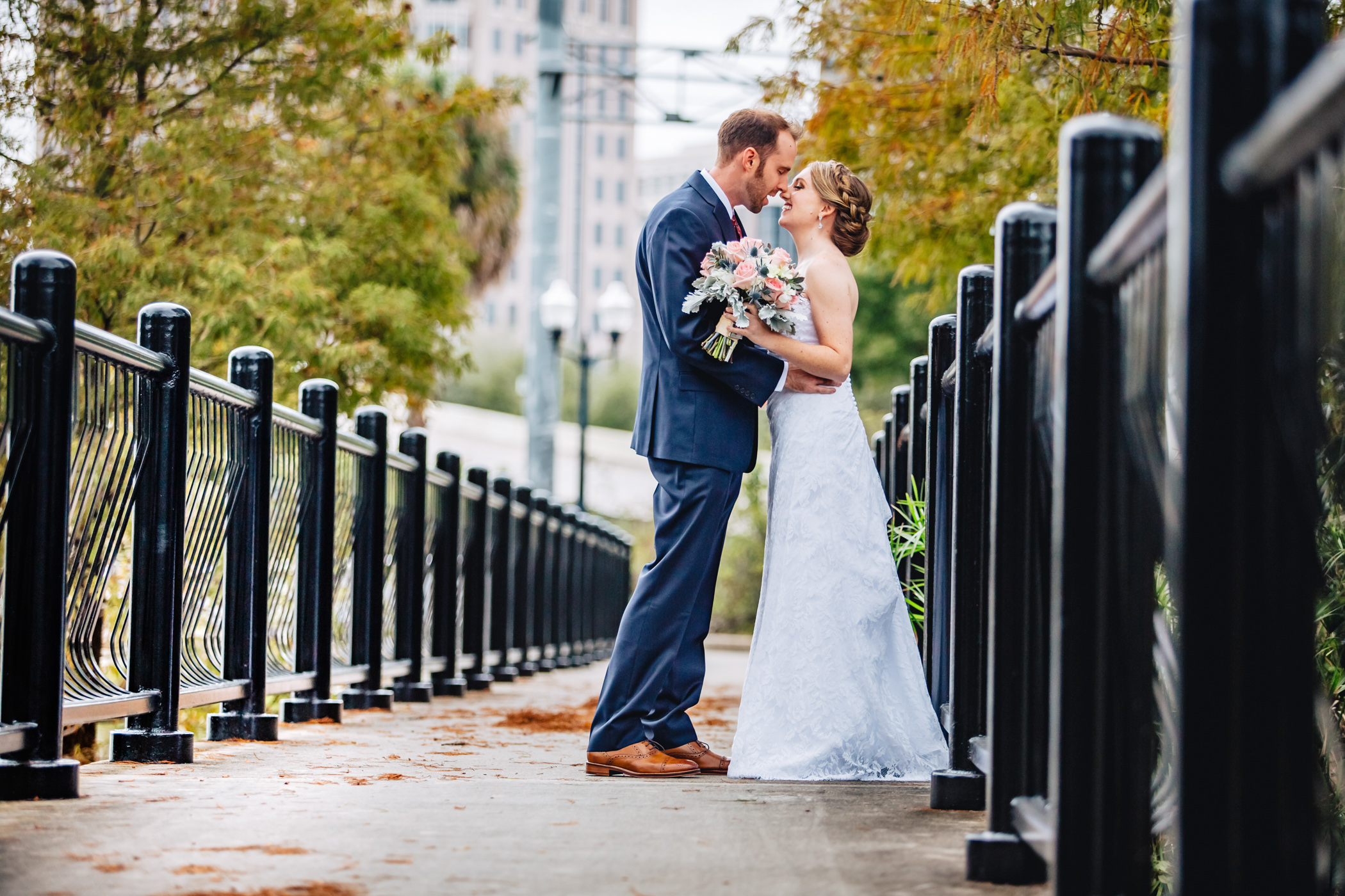 Downtown Orlando Wedding at Lake Lucerne Christmas Theme Red Dress Navy Suits 068.jpg