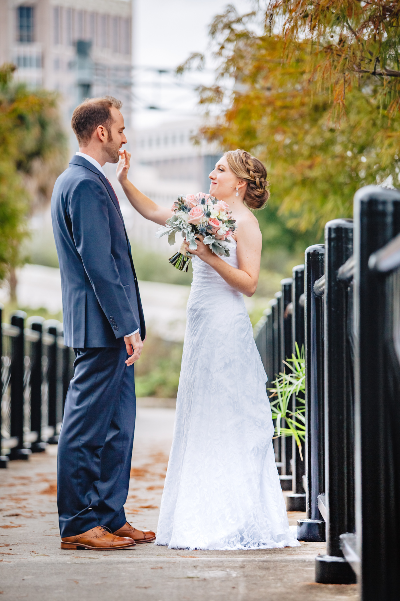 Downtown Orlando Wedding at Lake Lucerne Christmas Theme Red Dress Navy Suits 071.jpg