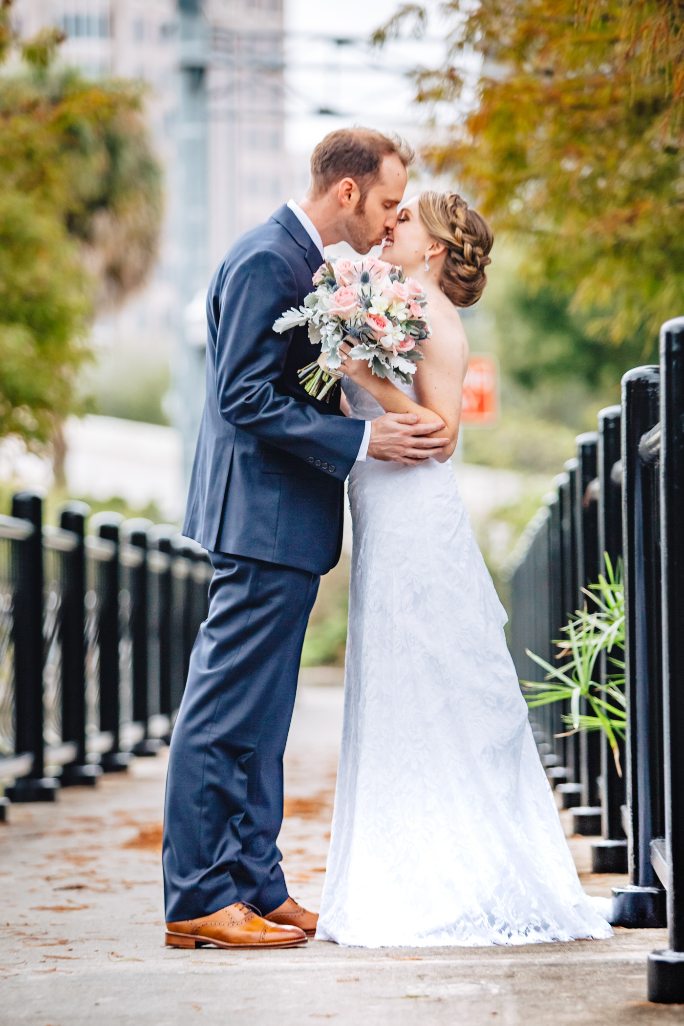 Downtown Orlando Wedding at Lake Lucerne Christmas Theme Red Dress Navy Suits 072.jpg